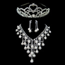 Fashionable Crystal Earring Necklace Tiara Set Wedding Bridal Jewelry Collection