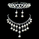 Morden Crystal Earring Necklace Tiara Set Wedding Bridal Jewelry Collection