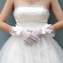 Tulle Wrist Wedding Gloves with Bowknot