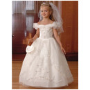Reliable and Cheap White Puff Sleeves First Communion Dresses/ Luxury Beaded Appliques Flower Girl Dresses