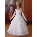 Pretty Custom Ball Gown Spaghetti Straps White Full Length First Communion Dresses with Jacket