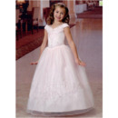 Princess Ball Gown V-Neck Full Length First Communion Dresses/ Pretty Embroidery Beaded Organza Flower Girl Dresses