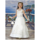 Lovely A-Line Halter Floral Ankle Length Satin First Communion Dresses/ Flower Girl Dresses