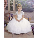 Spring Lace Ball Gown Spaghetti Straps First Communion Dresses with Jacket/ Bubble Skirt Flower Girl Dresses