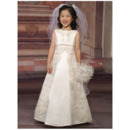 Couture Beaded Appliques Empire First Communion Flower Girl Dresses with Ribbon Waist