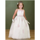 Luxury Beaded Appliques Ball Gown Straps Floor Length Two Tone First Communion Dresses/ Flower Girl Dress