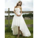 Modest A-Line Sweetheart High-Low Hem Wedding Dresses/ Unique Asymmetrical Garden Bridal Gowns