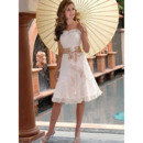 Romantic A-Line Short Lace Reception Wedding Dresses/ Stylish Sweetheart Petite Knee Length Bridal Dresses with Sash