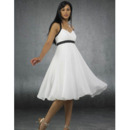 Top Summer Empire Sweetheart Tea Length Beach Sash Wedding Dresses/ White and Black Chiffon Reception Bridal Dresses