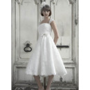 Romantic A-Line Straps Tea Length Reception Lace Bridal Wedding Dresses