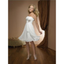 Newest Empire Strapless Short Beach Wedding Dresses/ Custom Knee Length Chiffon Reception Wedding Gowns