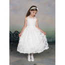 Beautiful A-Line Round Tea Length Organza Applique Flower Girl/