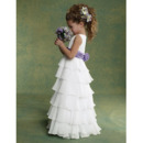 Beautiful A-Line Bateau Floor Length Layered Skirt Chiffon Flower Girl/ First Communion Dresses with 3D Flower