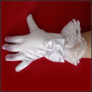 Short Wrist Elastic Satin Lace Flower Girl/ First Communion Gloves with Bow