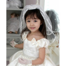 Lovely 2 Layers White Tulle Flower Girl Veils with Tiaras
