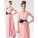 Excellent Sheath/ Column One Shoulder Ankle Length Chiffon Bridesmaid Dresses for Spring Wedding