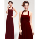 Elegant Sheath/ Column Halter Floor Length Chiffon Empire Bridesmaid Dresses