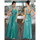 Excellent Sheath/ Column V-Neck Ankle Length Taffeta Organza Evening/ Prom Dresses