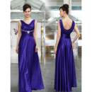Vintage Long Length Satin Evening Party Dresses with Cowl Back