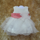 Custom Cute Ball Gown Round/ Scoop Tea Length Satin Organza Empire Flower Girl Dresses with Tiered Skirt