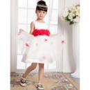 Pretty A-Line Round/Scoop Mini/Short Satin Organza Easter Dresses/ Flower Girl Dresses