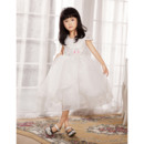 Beautiful A-Line Scoop Neck Cap Sleeves Short/Knee Lenght Lace Organza Flower Girl Dresses
