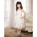 Classy A-line Spaghetti Straps Knee Length Organza Ruffle Pic-up Flower Girl Dresses with Hand-made Flowers
