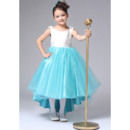 Discount Affordable A-Line Scoop Neck High-low Asymmetric Hem Satin Tulle Color Block Flower Girl Dresses with Bow