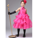 Fashionable A-Line Beaded High-Neck Knee Length Organza Girls Party Dresses Ruffled Tiered Skirt