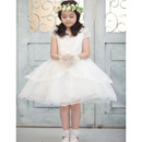 Simple Pretty Ball Gown V-Neck Knee Length Satin Bow Organza Flower Girl Dresses with Layered Draped High-Low Skirt