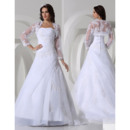 Gorgeous A-Line Strapless Floor Lenght Satin Organza Formal Wedding Dresses