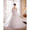 Gorgeous Crystal Beading Ball Gown Strapless Satin Organza Chapel Train Wedding Dresses