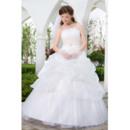 Inexpensive Ball Gown Pick-Up Skirt Strapless Floor Length Tulle Satin Wedding Dresses