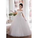 Amazing Off-the-shoulder Ball Gown Floor Length Satin Organza Dresses for Spring Wedding