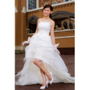 Inexpensive A-line Strapless Asymmetric High-Low Strapless Satin Organza Informal Wedding Dresses