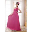 Simple One Shoulder Empire Chiffon Floor Length Bridesmaid Dresses