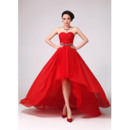 Chic A-Line Asymmetric High-Low Chiffon Floor Length Sweetheart Empire Evening/ Prom Dresses