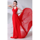 Formal Halter Chiffon Floor Length Sheath Evening/ Prom Dresses