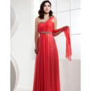 Sweet One Shoulder Chiffon Evening Party Dresses with Crystal Detail