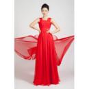 Inexpensive Chiffon Floor Length Straps A-Line Evening Dresses