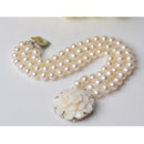 White Off-Round Pearl Bracelet Necklace Earrings Pendant and Ring Set