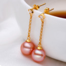 Beautiful Pink/ White 8 - 9mm Freshwater Round Pearl Earring Set
