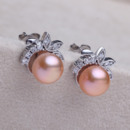 Amazing Purple/ Pink/ White 7.5 - 8.5mm Freshwater Off-Round Pearl Earring Set