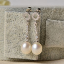 Inexpensive White Drop 7-8mm Freshwater Natural Pearl Earring Set