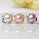 White/ Pink/ Purple Off-Round 8-9mm Freshwater Natural Pearl Earring Set