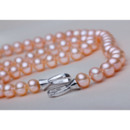 White/ Pink/ Purple 7.5 - 8.5mm Freshwater Off-Round Pearl Necklace