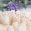 Inexpensive White 7mm Freshwater Natural Off-Round Bridal Pearl Necklaces