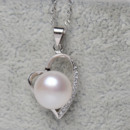 Inexpensive White 11 - 12mm Off-Round Freshwater Natural Pearl Pendants