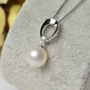 Elegant White 8 - 11mm Round Freshwater Natural Pearl Pendants