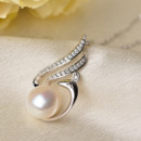 Elegant White Off-Round 10.5 - 11mm Freshwater Natural Pearl Pendants